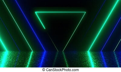 Many neon triangles in space, abstract computer generated backdrop, 3D render