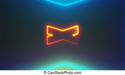 Many neon X shapes in space, abstract computer generated...