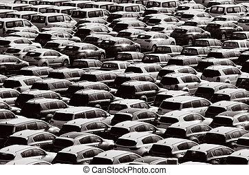 Many new cars abstract background texture. Transportation...