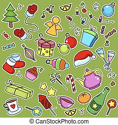 New Year objects stickers