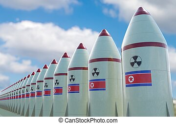 Many nuclear missiles with North Korean flag. 3D rendered illust