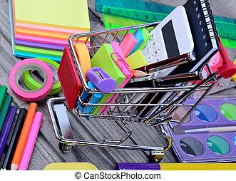 Many objects school in a shopping cart
