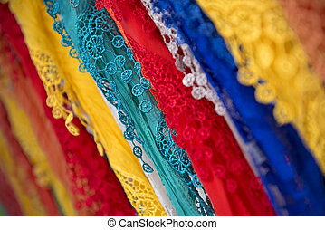 Many of Colorful Shawls at the Market of Majorca, Spain ( Balearic Islands )