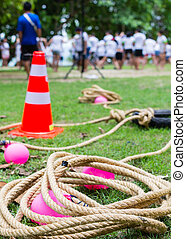 team building activity - many of people with equipment in...