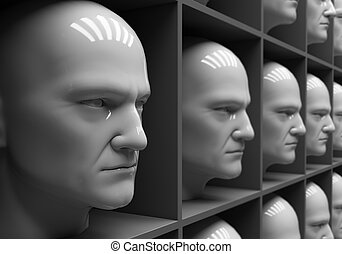 Uniformity - Many of the same people's heads in boxes. ...