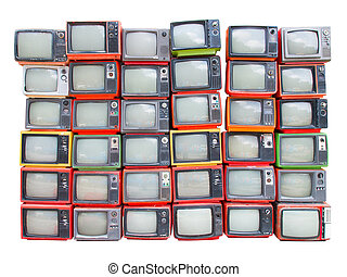 Many old vintage televisions pile up isolated on white backgroun