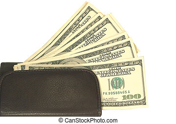 Many one hundred american dollars in brown wallet