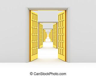 Many opened doors