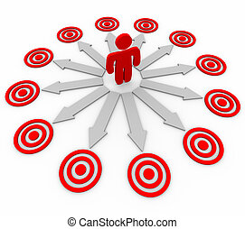 Many Opportunities are Targeted - Man and Arrows - A person...