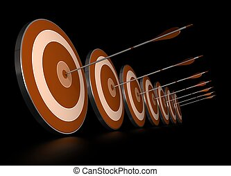 many orange targets in a row plus seven arrows, each arrows hit the center of one target, image over black background,