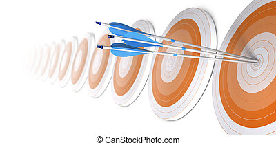 Many orange targets in a row, three blue arrows hits the first one in the center, white background