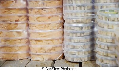 Many packages of canned fish
