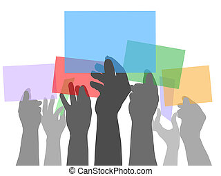 Many people hands holding color spaces - Many people holding...