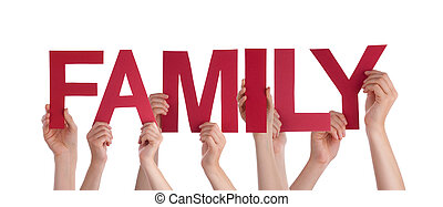 Many People Hands Holding Red Straight Word Family