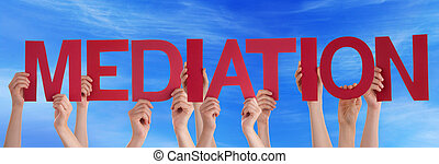 Many People Hands Holding Red Straight Word Mediation Blue Sky