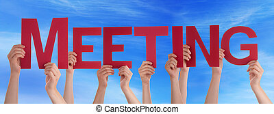 Many People Hands Holding Red Straight Word Meeting Blue Sky