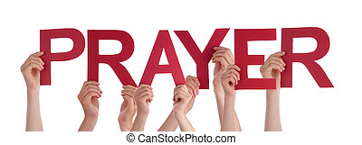 Many People Hands Holding Red Straight Word Prayer