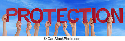 Many People Hands Holding Red Straight Word Protection Blue Sky