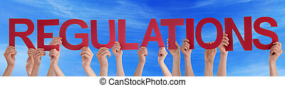 Many People Hands Holding Red Straight Word Regulations Blue Sky