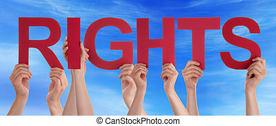 Many People Hands Holding Red Straight Word Rights Blue Sky...