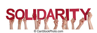 Many People Hands Holding Red Straight Word Solidarity - ...