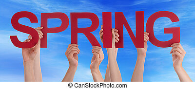 Many People Hands Holding Red Straight Word Spring Blue Sky