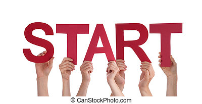 Many People Hands Holding Red Straight Word Start