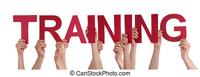 Many People Hands Holding Red Straight Word Training