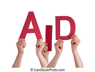 Many People Hands Holding Red Word Aid