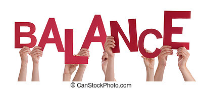 Many People Hands Holding Red Word Balance