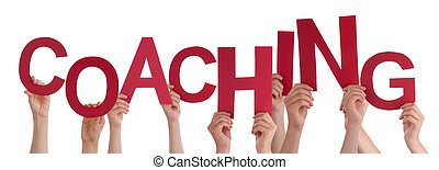 Many People Hands Holding Red Word Coaching