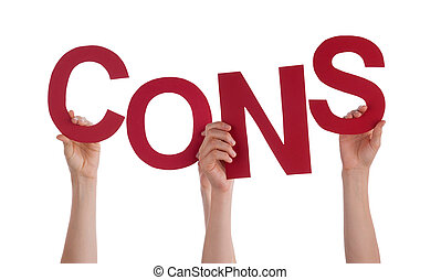 Many People Hands Holding Red Word Cons