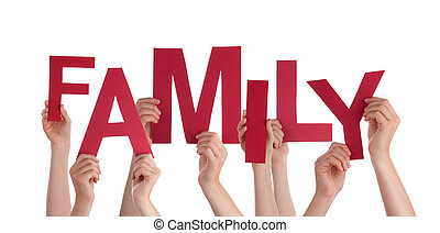 Many People Hands Holding Red Word Family - Many Caucasian...