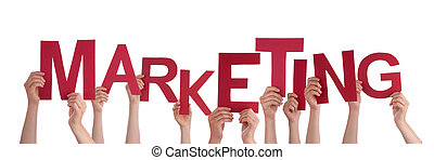 Many People Hands Holding Red Word Marketing