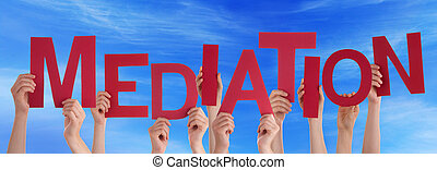 Many People Hands Holding Red Word Mediation Blue Sky