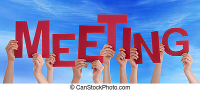 Many People Hands Holding Red Word Meeting Blue Sky