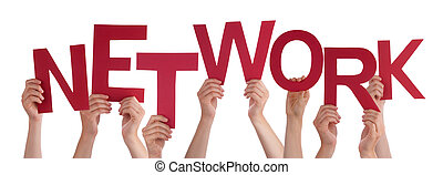 Many People Hands Holding Red Word Network