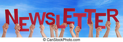 Many People Hands Holding Red Word Newsletter Blue Sky