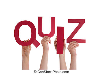 Many People Hands Holding Red Word Quiz