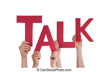 Many People Hands Holding Red Word Talk