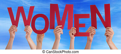 Many People Hands Holding Red Word Women Blue Sky