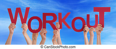 Many People Hands Holding Red Word Workout Blue Sky