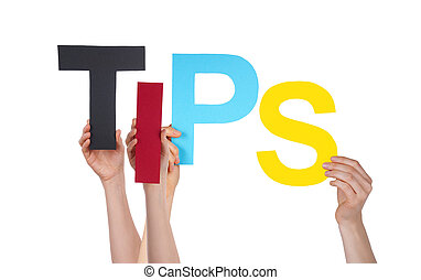 Many People Hands Holding Straight Word Tips