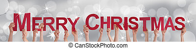 People Holding Merry Christmas