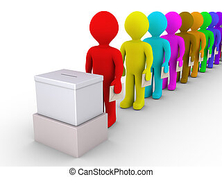 3d people standing in a row are in front of a ballot box