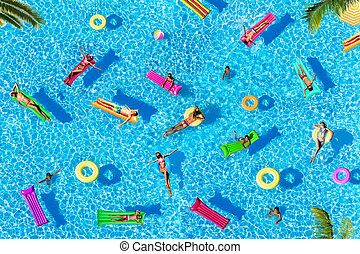 Many people pattern on water pool surface floating