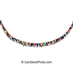 many people standing in the row in semicircle isolated