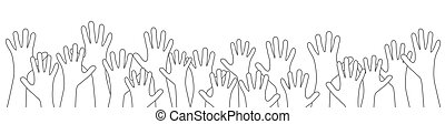 many people stretch their hands up