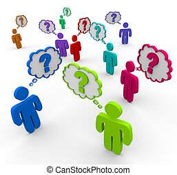 Many colorful people stand in a crowd thinking of questions