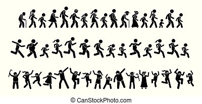 Many people walking, running, and dancing together.